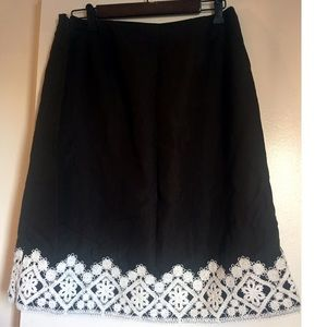 Loft - Brown Skirt w/ Embroidery/Lace Pattern (10)